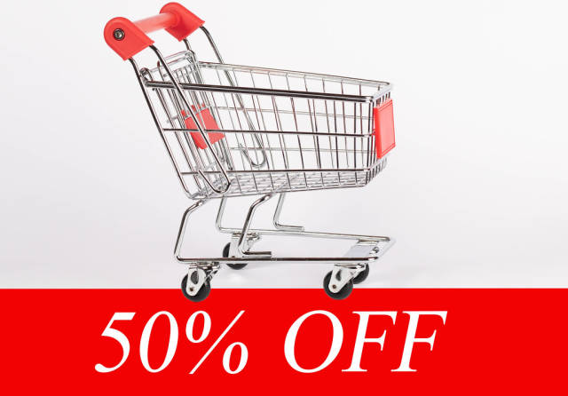 Shopping cart and fifty percent discount