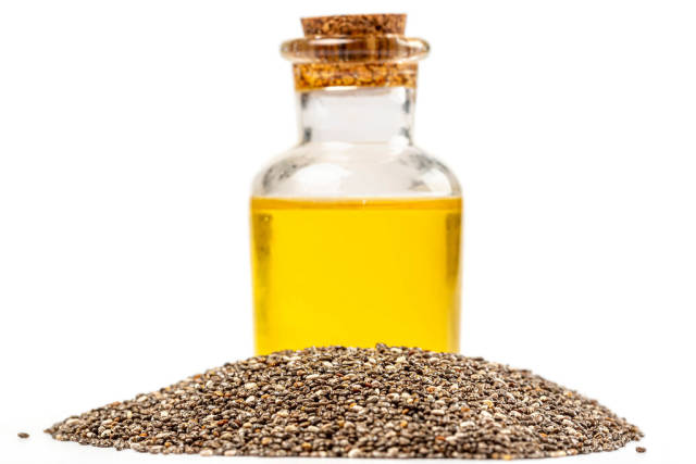Chia oil with seed, healthy eating concept