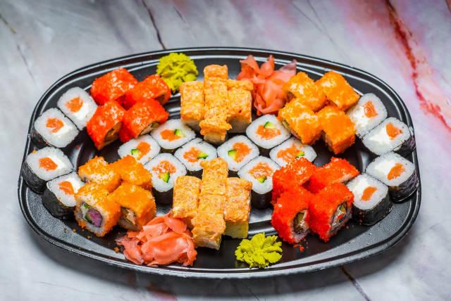 Sushi Set nigiri and sushi rolls for two. Maki, scallop.