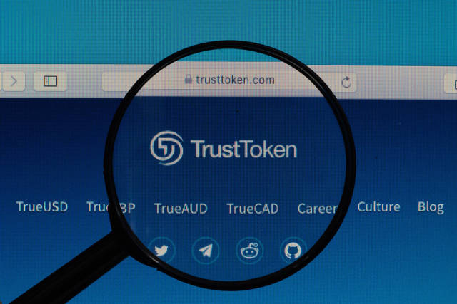 TrustToken logo under magnifying glass