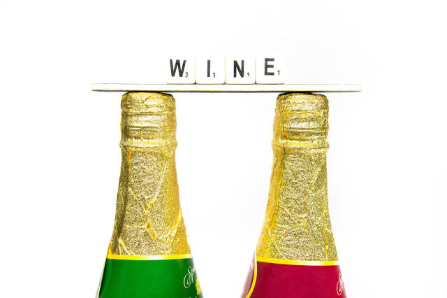 Bottles with WINE lable on top