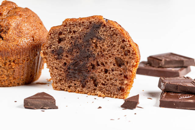 Chocolate muffin halves with chocolate