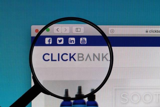 ClickBank logo under magnifying glass