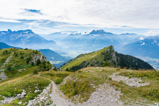 Hiking and biking paths in Swiss alps with breathtaking view