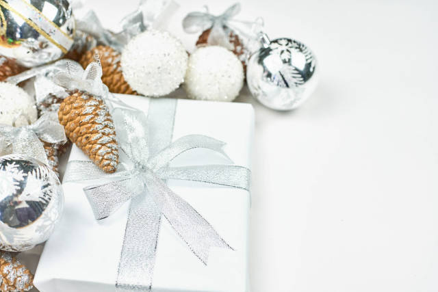 Bright Christmas decorations on white background