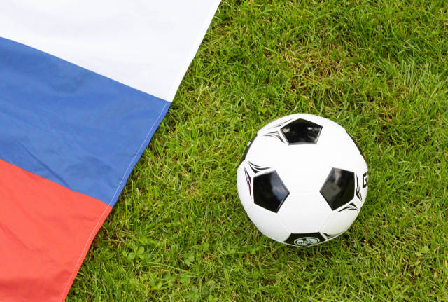 Soccer ball and Russian flag