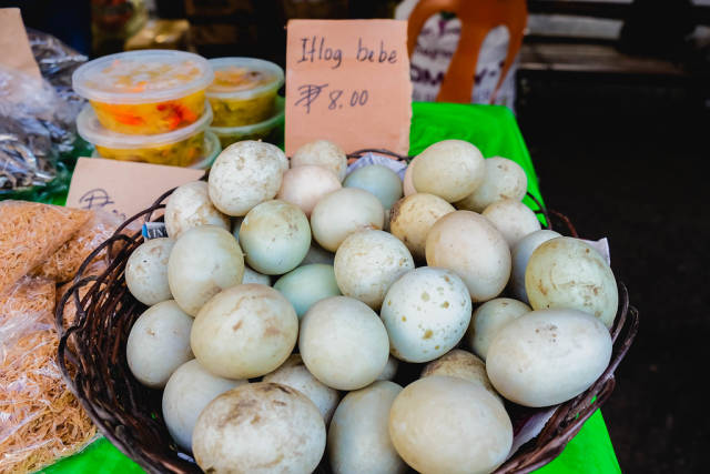 Fresh duck eggs on basket