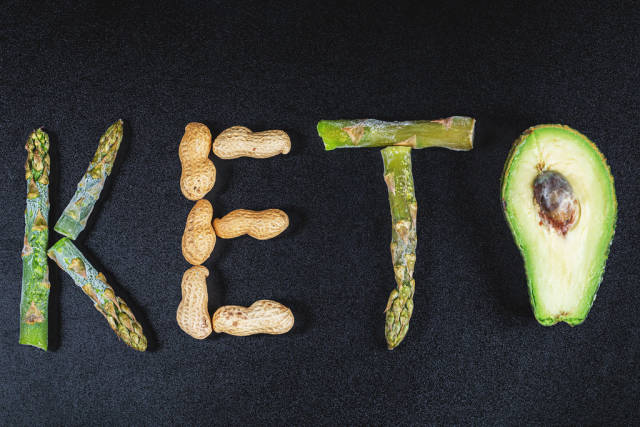 Top view, keto word made from produce food. Concept keto dieta