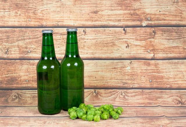 Beer bottles with hops