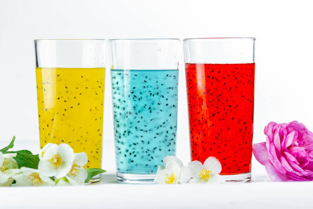 Summer colorful cocktails on white background