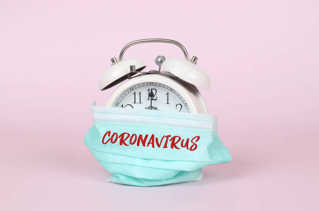 Alarm clock with safety mask and Coronavirus text