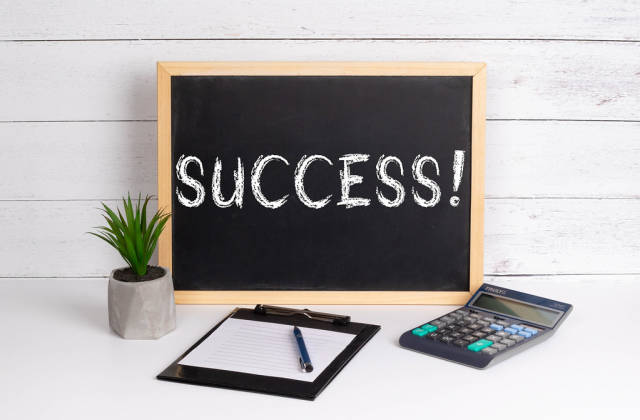 Blackboard with Success! text