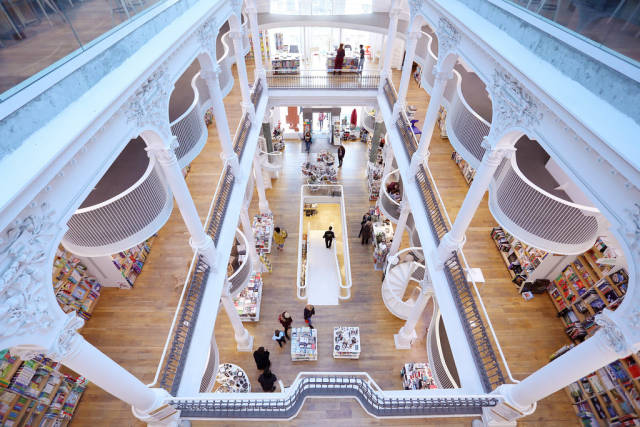 Bookshop with three floors, modern design, interior view