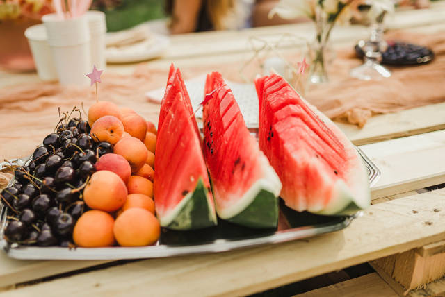 Plate Of Watermelon, Apricots And Black Cheries