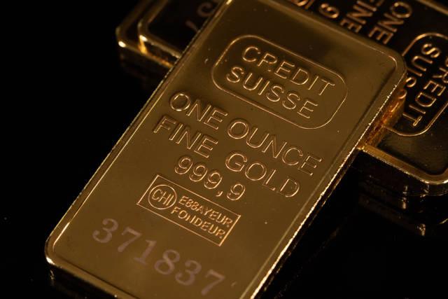 Close-up shiny gold bars