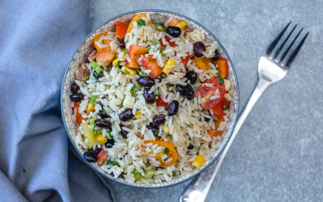 Rice Salad with Black Bean and Vegetables Close-Up