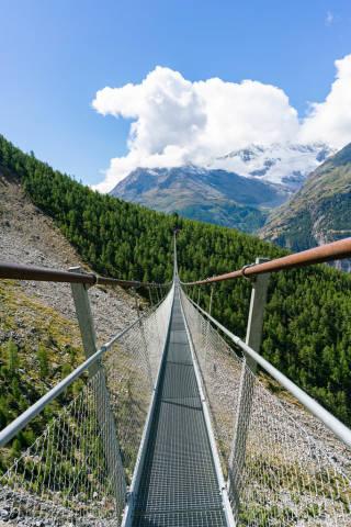 Crossing Charles Kuonen suspension bridge in Switzerland
