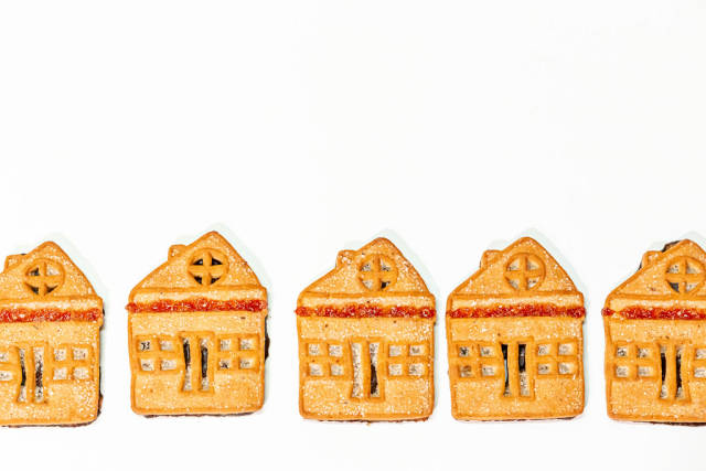 Cookies are small houses on a white background