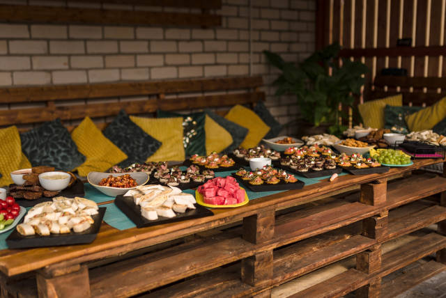 Served Party Table With Fruits, Snacks, Lavash, Canapes And Meat