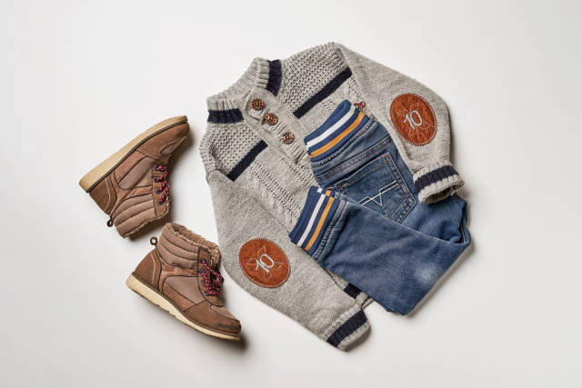Top view of child boy clothes set