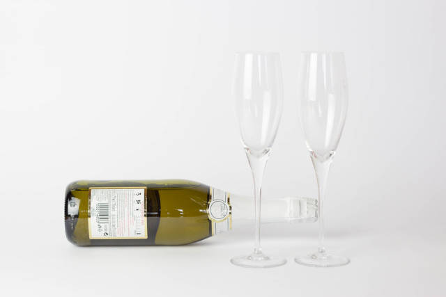 Champagne with empty glasses