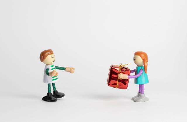 Kids with present box