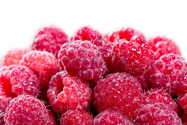 Ripe pink raspberries with water drops