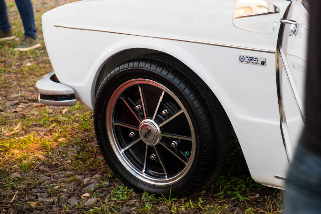 A customized rim of a Volkswagen