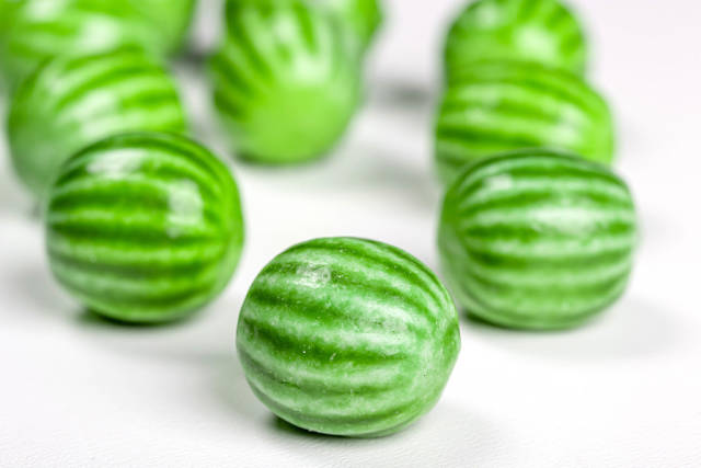 Close-up of green chewy candies