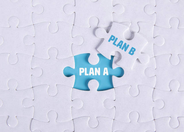 White puzzle with word Plan A & Plan B