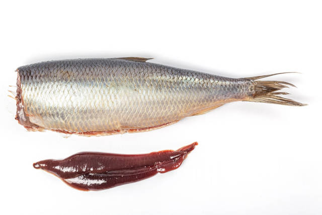Top view, headless herring with caviar on white