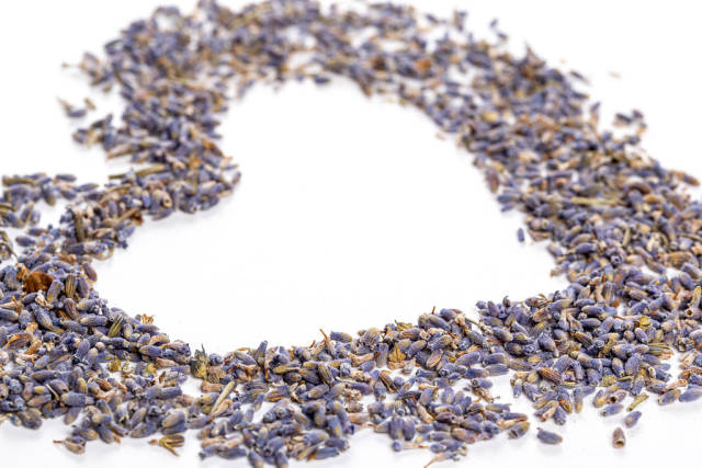 Heart made from dried lavender flowers, close-up