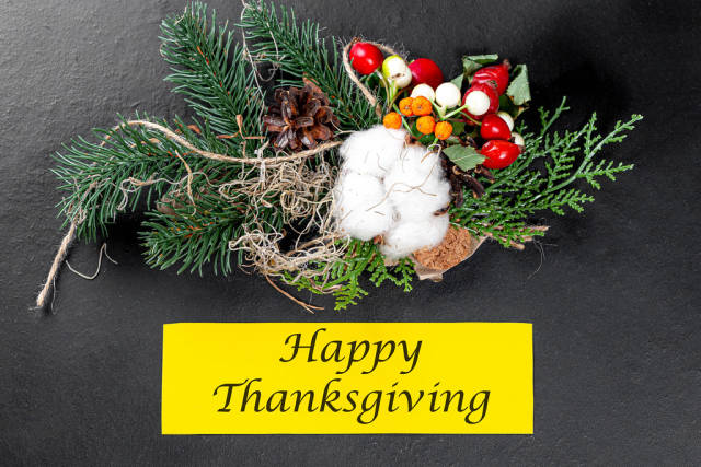 Autumn background with happy Thanksgiving inscription. The concept of gratitude and family autumn holiday