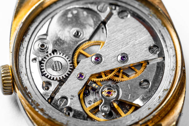 Closeup of a mechanism of gears from an old watch