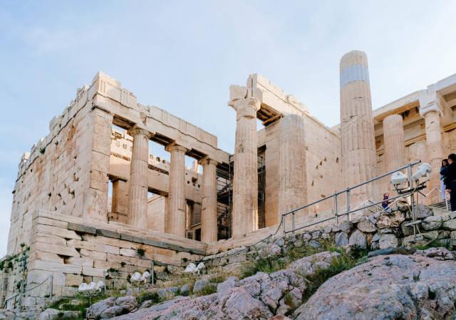 Buildings of Acropolis up close