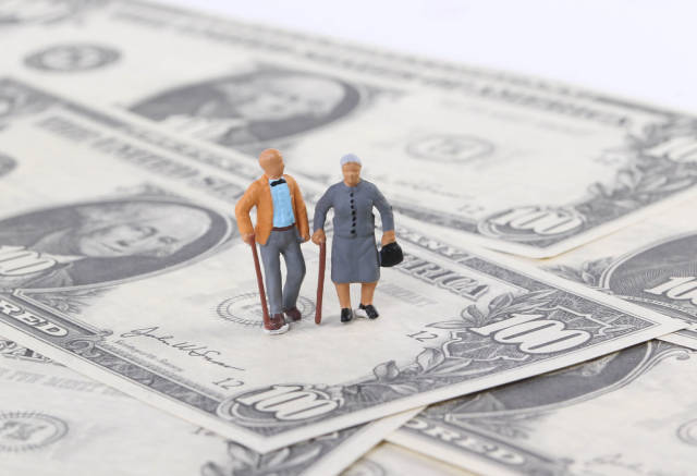 Old couple on dollar banknotes