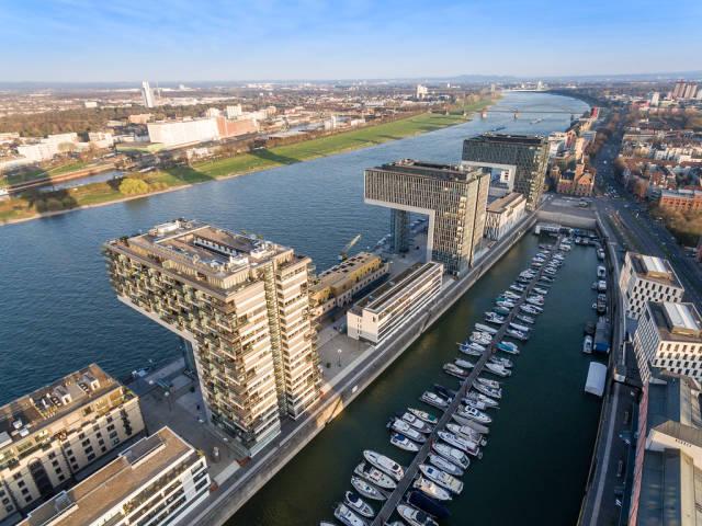Aerial Shot of Rheinauhafen Cologne