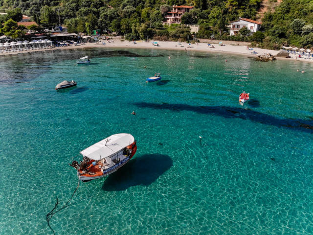 Drone photo of boats near the beach in Afitos, Chalkidiki