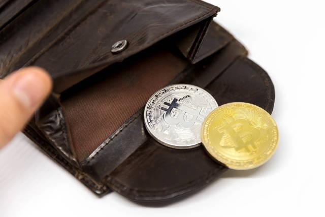 Bitcoins in einer Geldbörse
