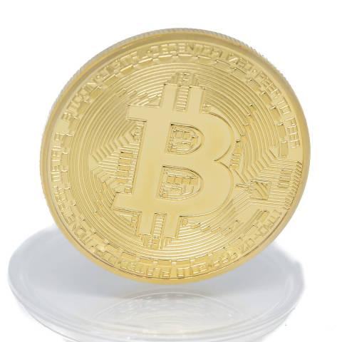 Bitcoin Münze Gold Nahaufnahme