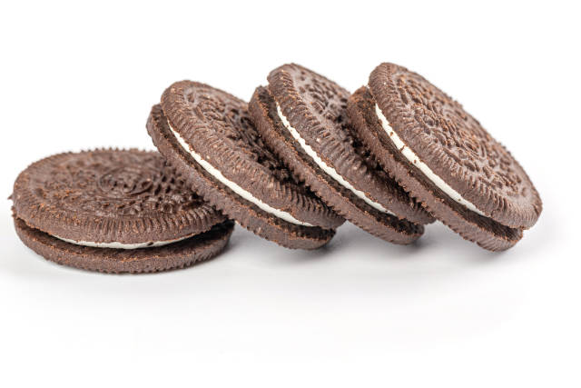 Chocolate sandwich cookies on white