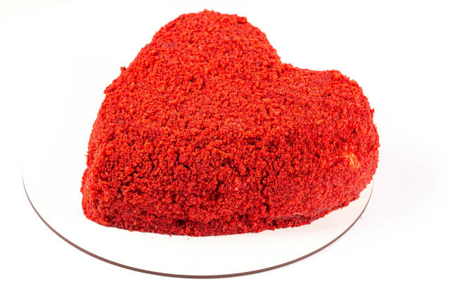 Homemade red velvet cake in heart shape