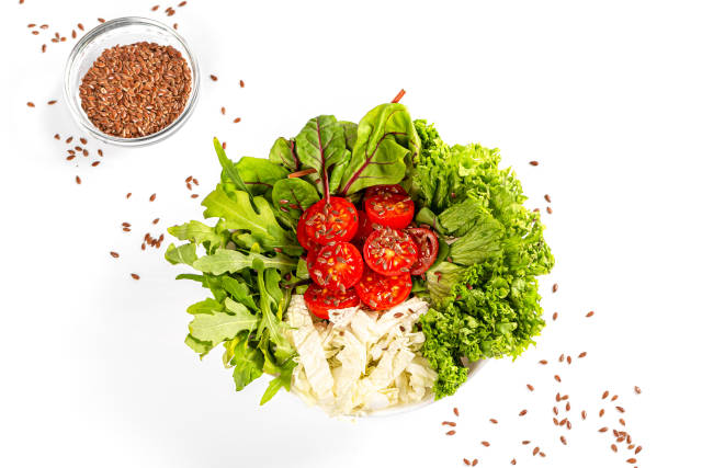 Top view, healthy lunch with tomatoes, cabbage, lettuce, arugula