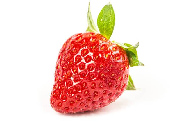 Fresh red strawberries on white background