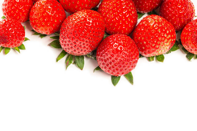 Freshly harvested strawberries on white with free space