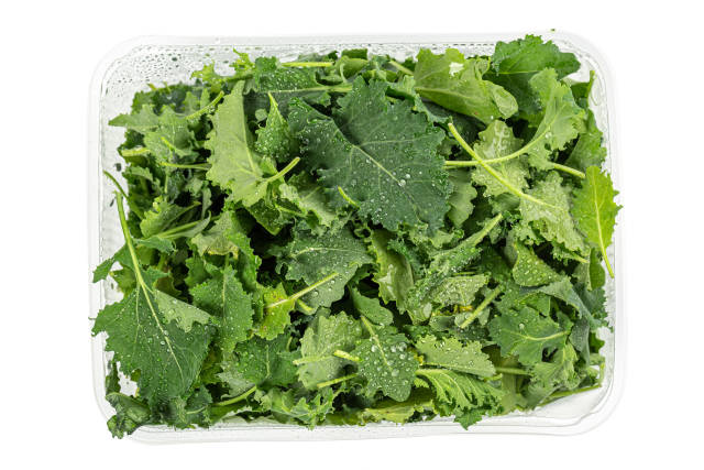 Leaves of kale cabbage on white, top view