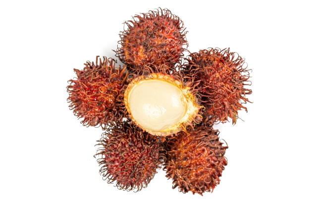 Rambutan sweet delicious fruit on white background, top view