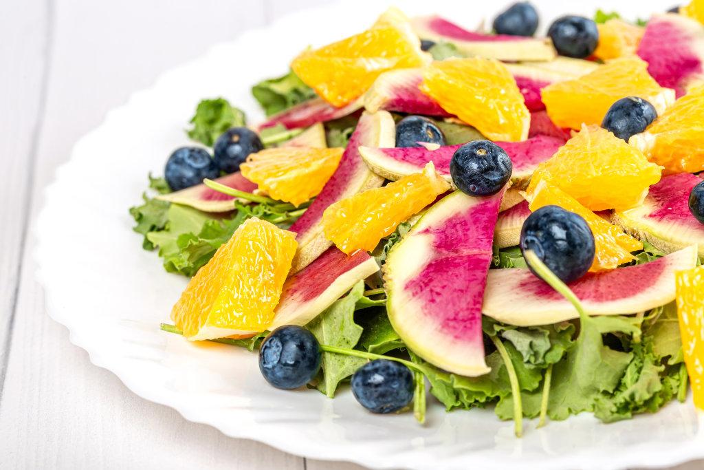 Close-up, fresh fruit vegetable salad