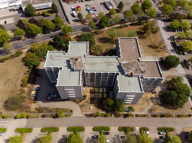 Firmenzentrale der QSC AG in Köln aus der Luft fotografiert