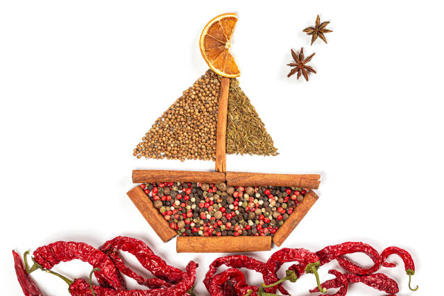 Sailboat ship made of spices and sea of chili peppers, top view